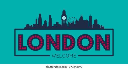 London England city skyline silhouette vector design