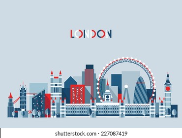 London (England) city skyline vector background. Flat trendy illustration.