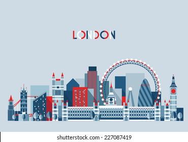 London (England) city skyline vector background. Flat trendy illustration.