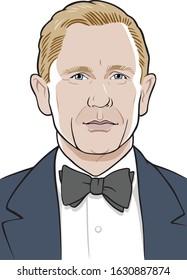 London, England - February 1, 2020: Daniel Craig, actor, James Bond