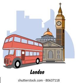 London England including Big Ben and a double decker tour bus.
