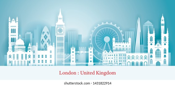 London, England Landmarks Skyline Paper Cutting Style, Famous Place, Travel and Tourist Attraction
