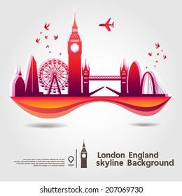 London, England, skyline background, vector Illustration