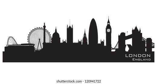 London England Skyline Detailed Silhouette Vector Illustration