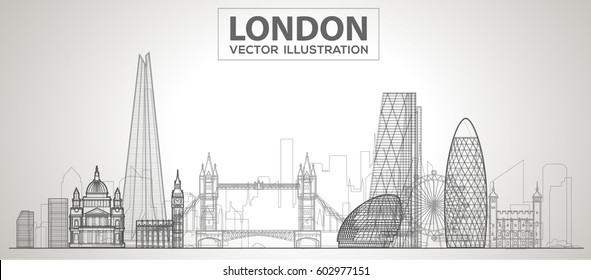 london (england) skyline with panorama in white background. Vector line Illustration. Business travel and tourism concept with modern buildings. Image for banner or web site.