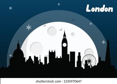 London England skyline silhouette vector design  on a full moon night