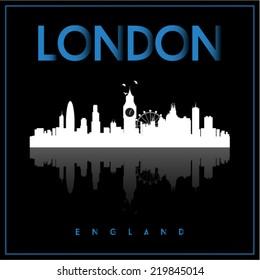 London, England skyline silhouette vector design on black background.