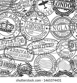 London England Stamps. City Stamp Vector Art. Postal Passport Travel. Design Set Pattern.