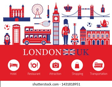 London, England and Travel Accommodation Icons, Famous Place, Tourist Attractions and Objects