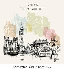 London, England, United Kingdom. Big Ben, Houses of Parliament, river Themes and Westminster bridge. Travel sketch. Vintage hand drawn postcard, poster, book illustration. Vector artwork