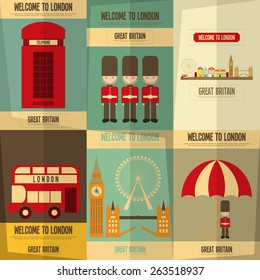 London. English Posters Collection with British theme. Vector Illustration.