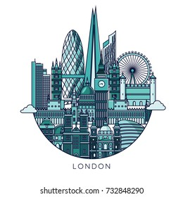 London famous monuments poster. Travel and tourism background. Vector illustration