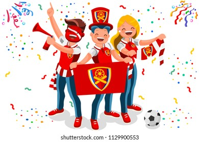 London fans, Arsenal football club. Premier League champions or UEFA Europa tournaments. English soccer team fans, Gunners, with jerseys. Flat isometric illustration of vector crowd of fans.