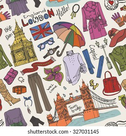 London fashion seamless pattern.Outerwear woman clothing and england famous landmarks.Hand drawing stylish doodle sketch.European Travel,holiday.Tower bridge,Big Ben.Illustration background