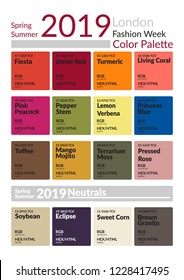 London Fashion Week Spring Summer 2019 Color Palette. Colors of the Year. Palette fashion colors guide with named color swatches. Fashion color trend