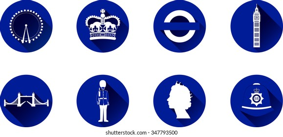 London Flat Icon Set. Set of vector graphic flat icons representing symbols and landmarks of London.
