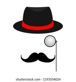 London gentleman hat and monocle.Secret agent. Businessman, mafia, detective