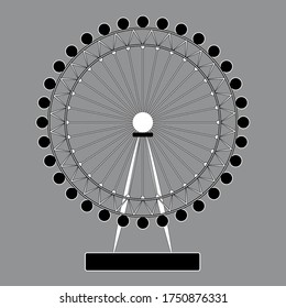 London / Great Britain - 06.07.2020: London Eye / Millennium Observation Wheel black and white vector illustration. Illustrative editorial.