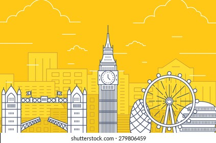 London, Great Britain detailed silhouette. Flat design vector illustration. Concept of tourism