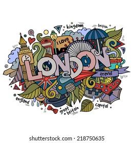 London hand lettering and doodles elements background. Vector illustration