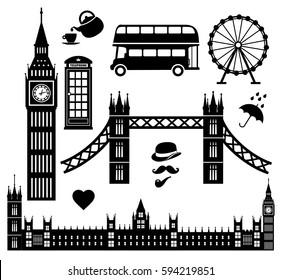London icon set collection vector