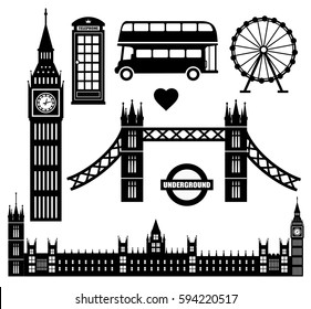 London icon set collection vector