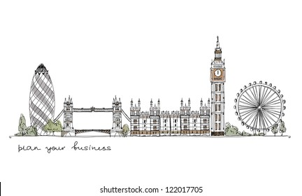 London (iconic buildings) background