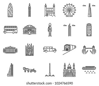 London icons line style sets. Landmark in UK. Vector building in england.