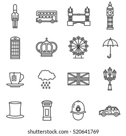 London icons set. England, thin line design. Themed icons of London, linear symbols collection. England showplace, isolated vector illustration