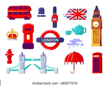 London Icons Set. England. Thin Flat Design. Themed Icons of London. British Symbols Collection. England Showplace. Isolated Vector Illustration