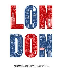 London Illustration Card - hand drawn in vector