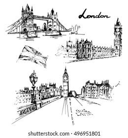 London illustration set: Tower bridge, Big ben, british flag. Hand drawn vector illustration.