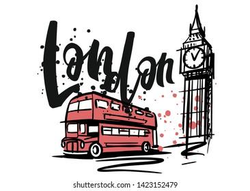London ink sketch for design or postcard