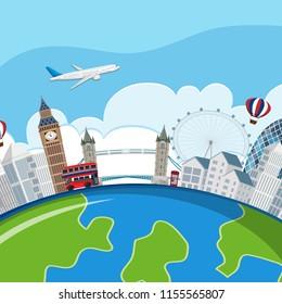 london landmarks planet concept illustration