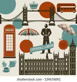 London Landmarks, Symbols and Icons - Set of famous London landmarks and icons, including Westminster Palace, London Bridge, Big Ben, double decker bus and English Bobby