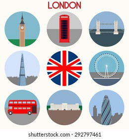 London landmarks & town symbols - Icons Set - Vector EPS10