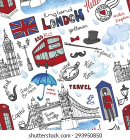 London landmark,symbols, lettering seamless pattern.Hand drawn doodle vector sketchy.Famous architectural monuments ,sign,symbols.Watercolor weather elements.England vintage icons,travel background