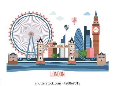 London landscape . Vector flat illustration .