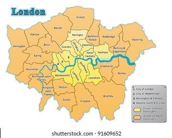 London map with all boroughs.
