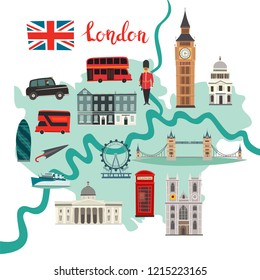 London map vector. Abstract atlas poster. Illustrated map of London for children/kid. Colorful landmarks design Capital of Great Britain icon. Tower bridge. London symbols red phone booth and bus