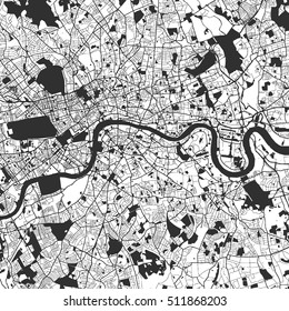 London Monochrome Map Artprint, Vector Outline Version, ready for color change, Separated On White