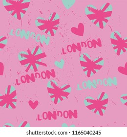 London pattern with hearts. Prints for textiles, fabrics, clothes, wallpapers, wrapping paper, web, backpack.