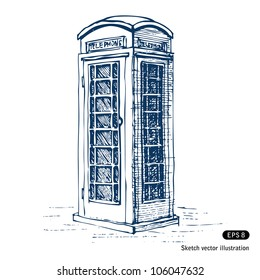 London pay phone. Hand drawn sketch illustration isolated on white background