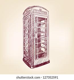London pay phone  vintage hand drawn vector illustration