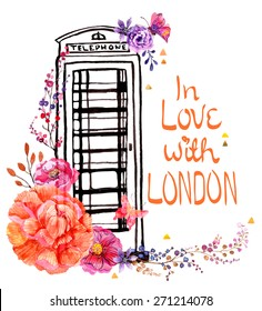 London phone booth with watercolor flowers, colorful illustration for beautiful travel design, Vector