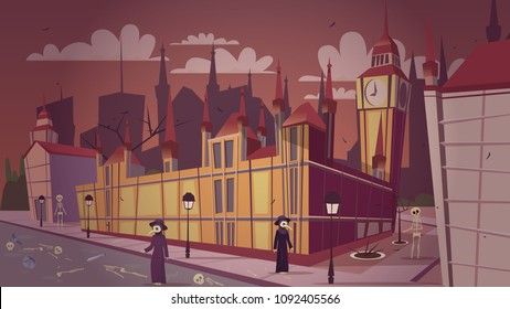 London plague epidemic vector illustration. Cartoon London great bubonic plague disease or Halloween concept design of doctors in mask costumes and dead people skeletons at Big Ben or Parliament House