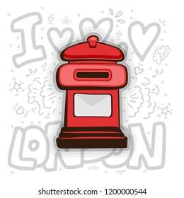 London post box vector. English london post cartoon illustration. Red Mail Box - England - London - Cartoon Icon isolated