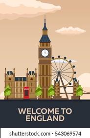 London poster. England. London skyline Travelling vector illustration