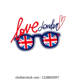 London poster. Great Britain illustration for t shirt boy and girl. Lettering composition and sunglasses with Britain flag. national England flag inside of glasses shape. love London text
