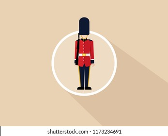 London Queen's guard. Vector flat illustration of a British soldier in uniform with a gun. Icon with long shadow. Vector flat isolated illustration.